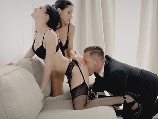 Sexual Trio with two vicious brunette in sexy lingerie playing with her pussies