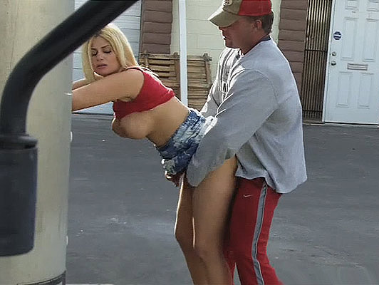 Video Voyeur, Blonde with big tits fucking and sucking a cock in a parking lot