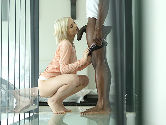 Interracial porn, petite blonde wants a thick black cock in her pussy and mouth