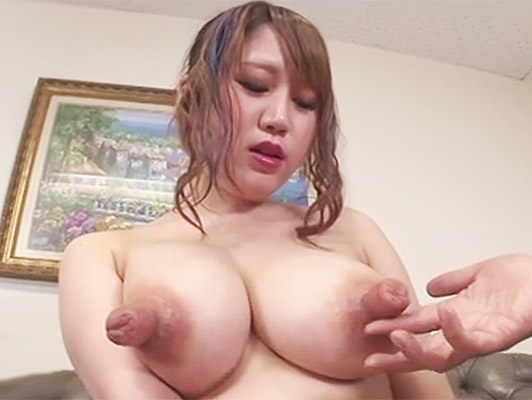 Japanese busty girl with huge super-developed nipples