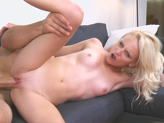 Fucking hard with a little blonde neighbour until cover her face with a sticky cumshot