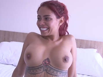 Pretty Colombian redhead caught in the street and fucking for money