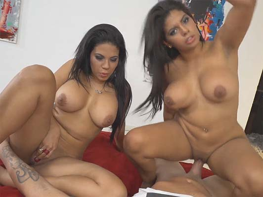 Threesome with the venezuelan sisters Kesha & Sheila Ortega in porn video POV