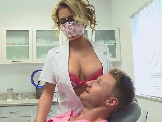 Sexual fantasy fucking with a busty and horny dentist