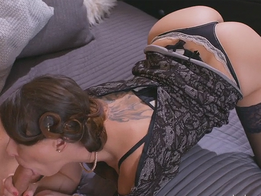 Rich mature woman in fancy lingerie fucking with her nephew