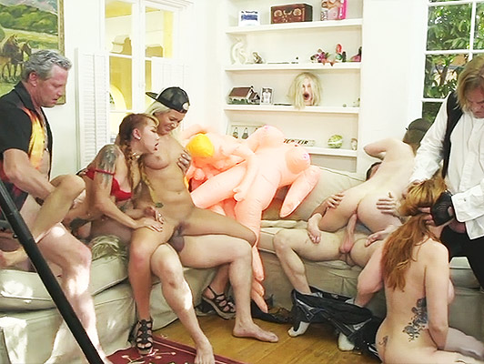 Orgy in a salon full of sex toys