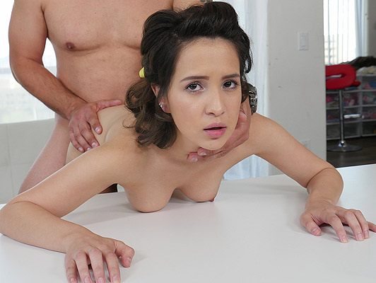 Casting porn with a young brunette with beautiful natural tits