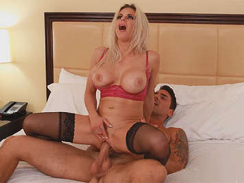 Busty blonde milf, luxury hooker in lingerie fucked hard  riding a big cock