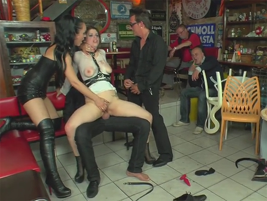 Public humiliation in a bar with a lot of extreme sex to a submissive young woman