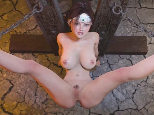 3D Hentai Pornos. Raping eine sexy und vollbusig Prinzessin auf einen Beitrag von Folter gebunden