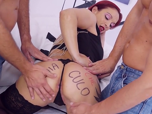 A red-headed Italian tattoo Mary Rider fucked double in a threesome