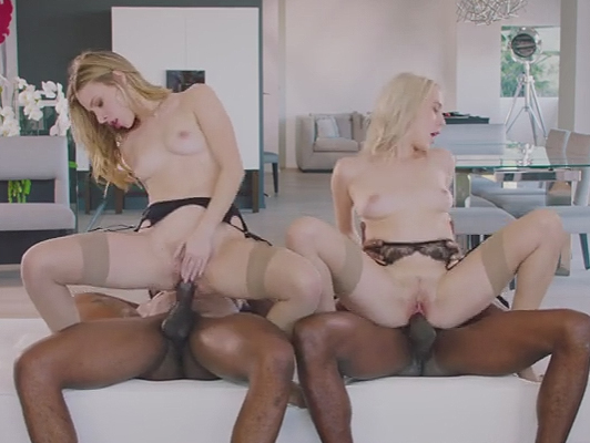 Two blondes having fun with two black cocks