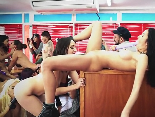 Wild orgy with 9 Latina girls in college Coffee-Shop