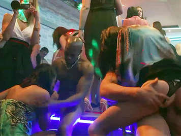 interracial sex wild party in a nightclub in Bucharest