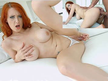 Busty redhead in thong plays with a dildo in her pussy until she gets fucked in the ass