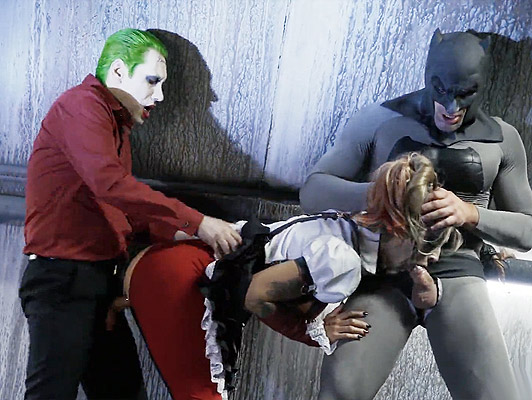 porno parody, Batman and the Joker ass fucking the blonde with pigtails of the Suicide Squad