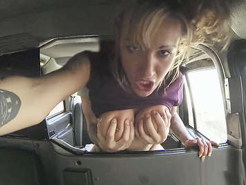 Fucking her ass in a taxi to a busty blonde who squirts like a bitch