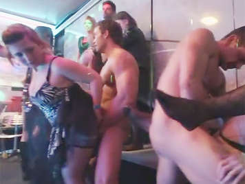 Uninhibited bachelorette party in a nightclub with 45 girls horny