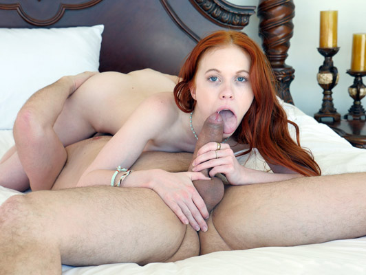Little redhead girl enjoying an excellent oral sex session