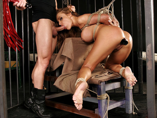 Blonde with big tits tied fucked and whipped with a whip in an iron cage
