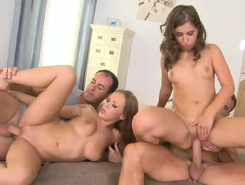 Foursome with 2 bitches who likes anal sex