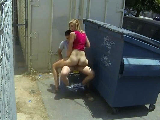 Blonde with a big ass fucking in public behind a trash container