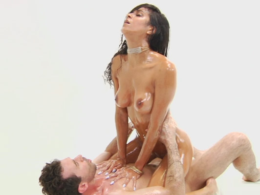 Slippery Busty brazilian babe cover of oil riding a big cock