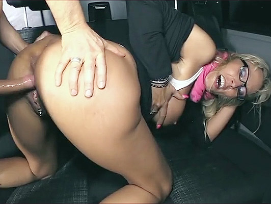 Blonde milf with glasses with big tits fucked in a bus gets a cum between her breasts