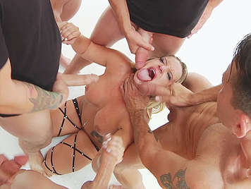 Bukkake with a dirty blonde with deep throat gets 5 cumshots of hot cum on her face