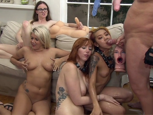 Orgy with four vicious girls who want hot cum on their faces and their tits