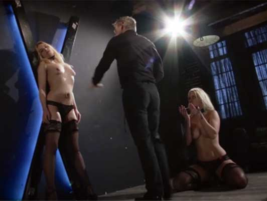 Extreme sado masochistic sex, lashing out at two beautiful blonde sex slaves