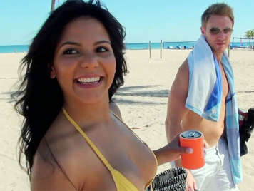 Milf with a big ass on the beach, fucked at home gets a cumshot on her ass