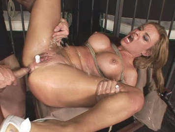 Extreme anal sex the busty blonde squirts with a cock fucking her ass