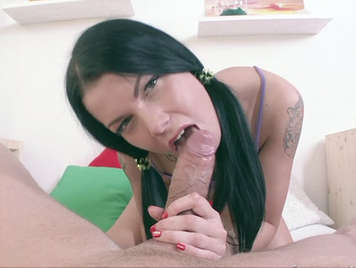 Young girl Vicious brunette With pigtails Sucking a thick cock