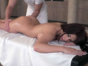 Massage to a milf brunette with perfect ass, big tits and deep throat