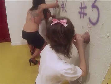 Perversions between Spanish schoolgirls sucking cocks in the glory hole