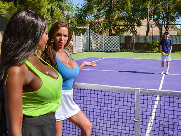 Two mature tennis players with big tits fuck the guy who collects the balls