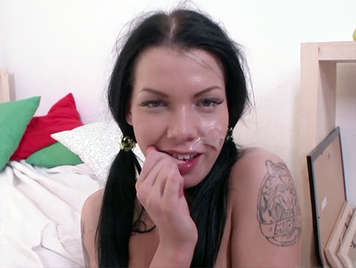 Russian brunette with pigtails buggered receives a facial cum