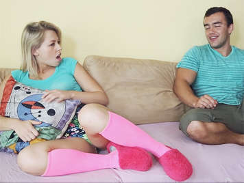Fucking her ass to her sweet step-sister a blonde teen with socks