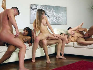 Orgy of singles, with the three girls in the house next door