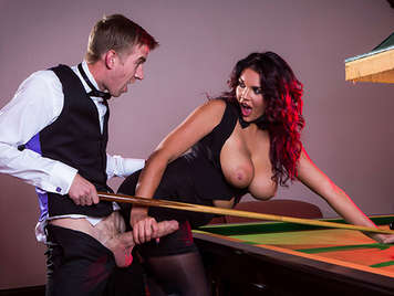 Busty babe sucks and fuck a big dick over a pool table