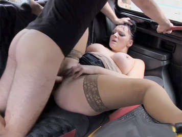Anal creampie to a busty british bitch in a cab