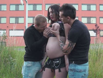 pregnant with milk tits fucking with two men in public