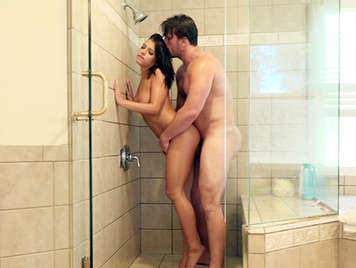 Sex in the shower with a young girl with big tits and hairy pussy