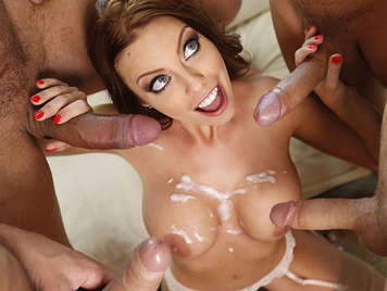 Bukkake with a busty blonde with four cocks fucking her and cumming in her mouth