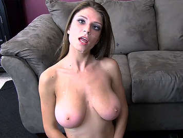 Curvy blonde with big natural breasts is hypnotized and fucks like a slut