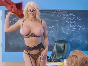 Busty teacher teaches him what it is to eat a cock and makes a woman run