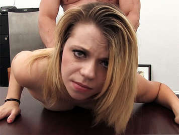 Lovely blonde in a anal Casting gets a Creampie