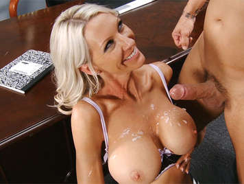 The Secretary fucks his Busty Boss until he cums between her big tits