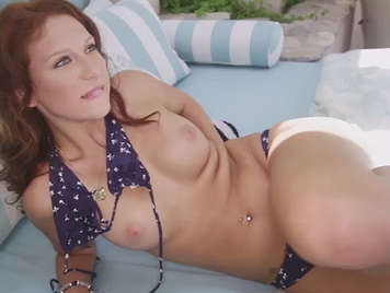 Redhead in bikini and natural tits receives a creampie in her sweet shaved pussy